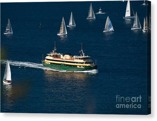 Yachts And Manly Ferry On Sydney Harbour Canvas Print