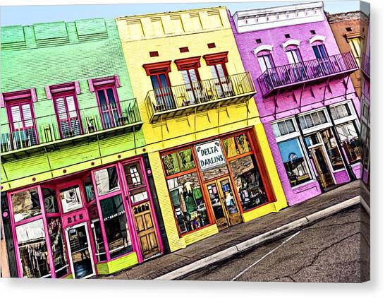 Smokehouses Canvas Print - Yazoo City Main Street by Maria Coulson