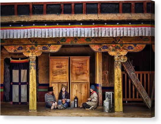 Yaks Canvas Print - Yak Butter Tea Break At The Potala Palace by Joan Carroll