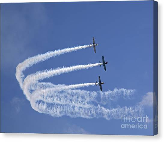 Acrobatic Canvas Print - Yaks Aerobatics Team by Jane Rix