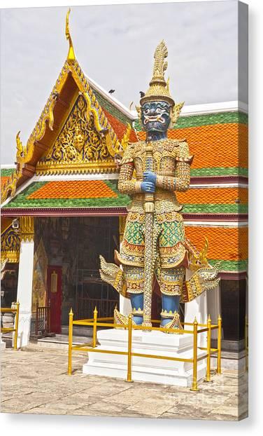 Yaksha Figure Wat Phra Kaew                   Canvas Print by Colin and Linda McKie