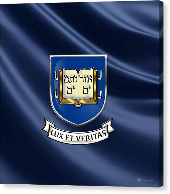 Yale University Canvas Print - Yale University Seal - Coat Of Arms Over Colours by Serge Averbukh