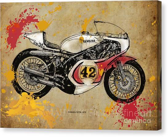 Yamaha Canvas Print - Yamaha Tz750 1979 by Drawspots Illustrations