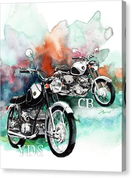 Yamaha Canvas Print - Yamaha Yds And Honda Cb72 by Yoshiharu Miyakawa