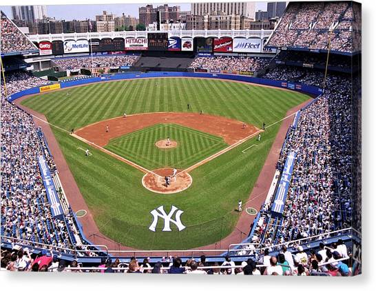 Crowd Canvas Print - Yankee Stadium by Allen Beatty