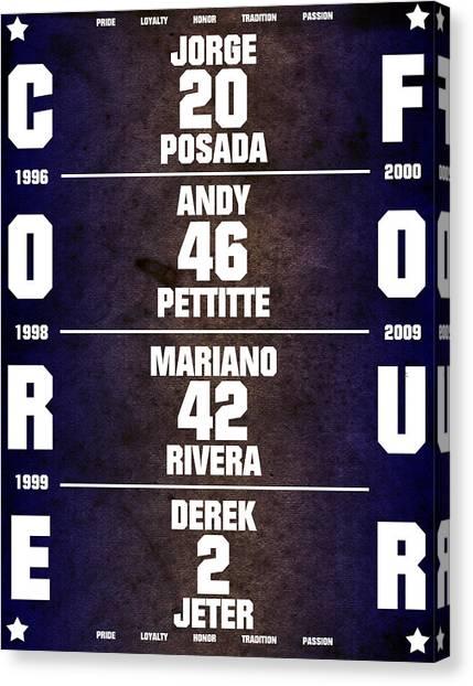 Derek Jeter Canvas Print - Yankees Core Four Chart by Anibal Diaz