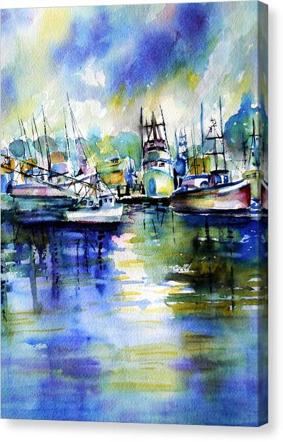 Yaquina Bay Boats Canvas Print