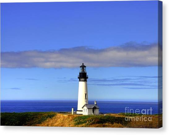 Canvas Print featuring the photograph Yaquina Head Light   2 by Mel Steinhauer