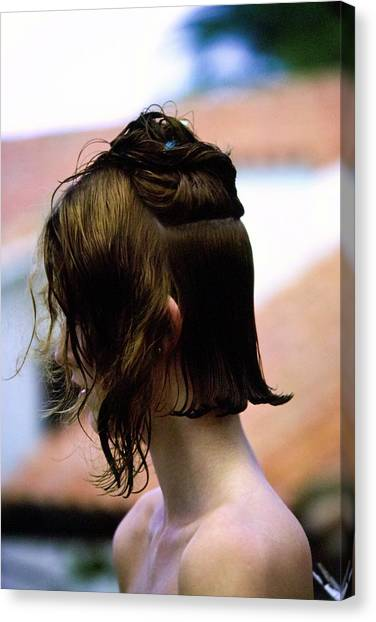 Suga Canvas Print - Yasmine Sokal During A Haircut by Arthur Elgort