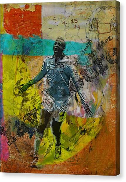 Premier League Canvas Print - Yaya Toure - B by Corporate Art Task Force