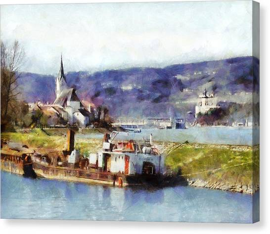 Canvas Print featuring the painting Ybbs An Der Donau Harbour by Menega Sabidussi