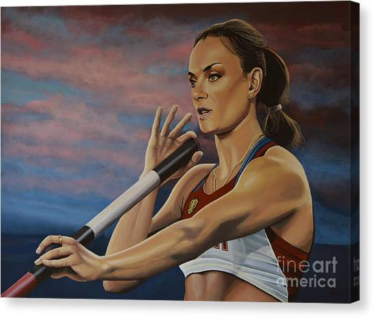 Goal Canvas Print - Yelena Isinbayeva   by Paul Meijering