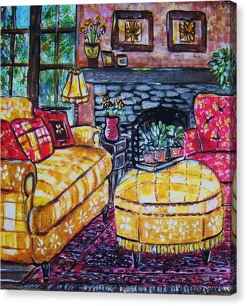 Yello Sofa Canvas Print by Linda Vaughon