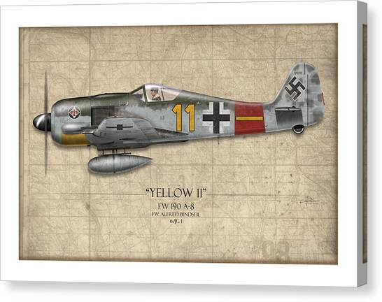 Luftwaffe Canvas Print - Yellow 11 Focke-wulf Fw 190 - Map Background by Craig Tinder