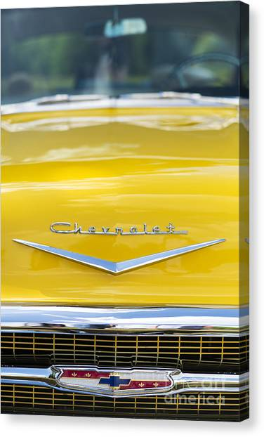 General Motors Automobiles Canvas Print - Yellow 1957 Chevrolet  by Tim Gainey