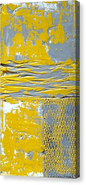 Yellow And Gray Abstract Painting Urban Chic Canvas Print