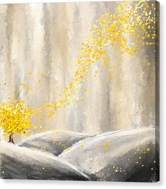 Yellow And Gray Landscape Canvas Print