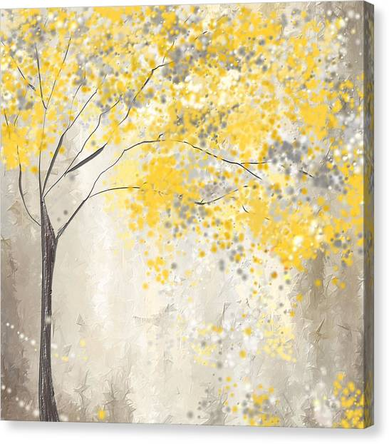 Yellow And Gray Tree Canvas Print