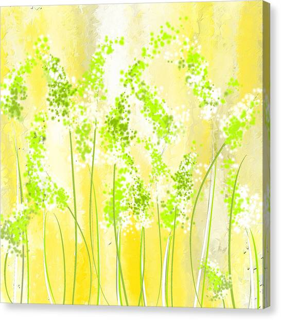 Spinach Canvas Print - Yellow And Green Art by Lourry Legarde