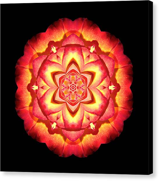 Yellow And Red Rose II Flower Mandalaflower Mandala Canvas Print