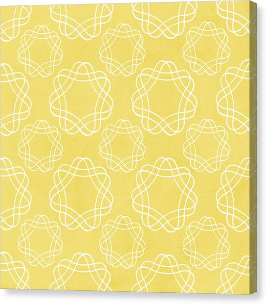 Yellow Canvas Print - Yellow And White Geometric Floral  by Linda Woods