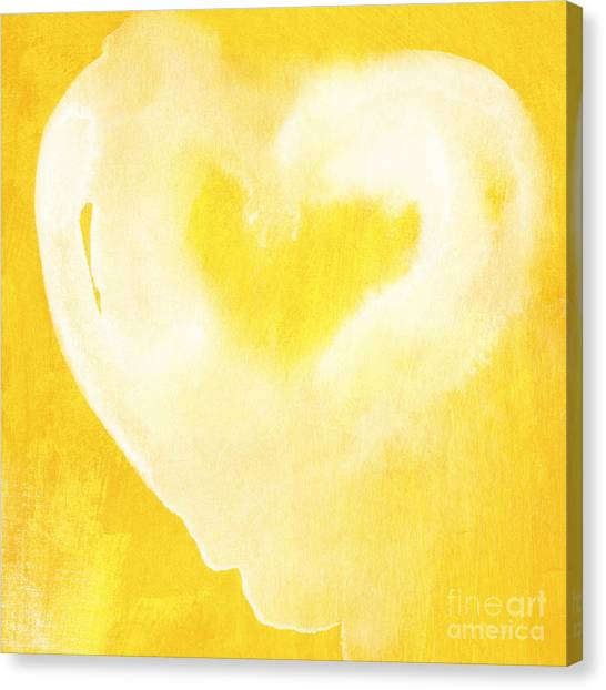 Design Canvas Print - Yellow And White Love by Linda Woods
