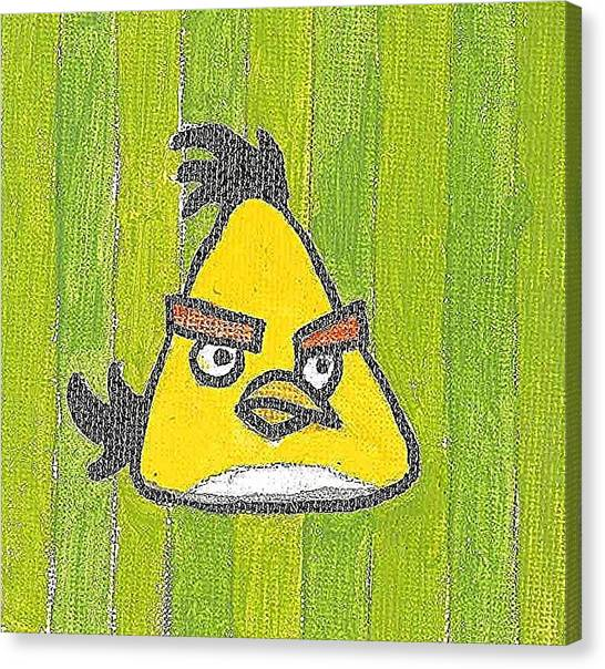Yellow Angry Bird Canvas Print by Fred Hanna