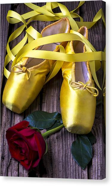 Ballet Shoes Canvas Print - Yellow Ballet Shoes by Garry Gay