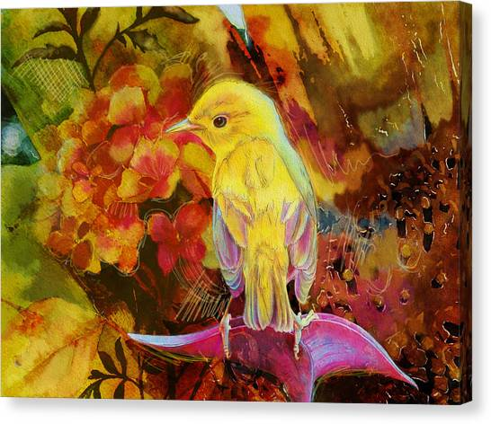 Parakeets Canvas Print - Yellow Bird by Catf