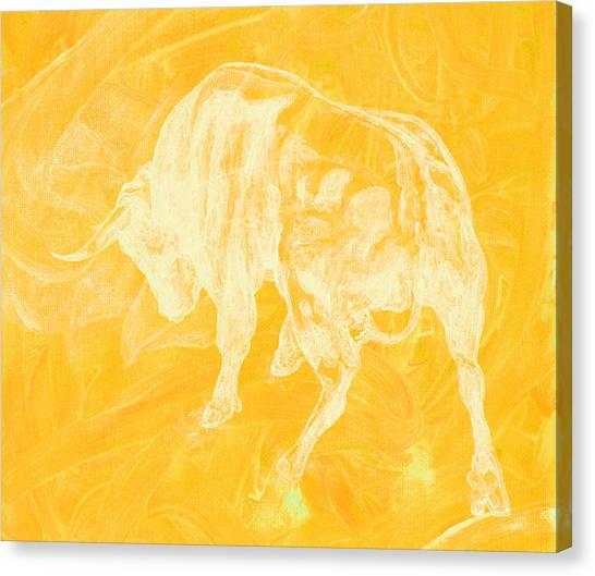 Yellow Bull Negative Canvas Print