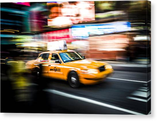 Yellow Cab Canvas Print by Chris Halford
