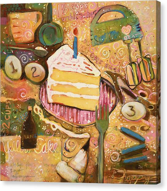 Happy Birthday Canvas Print - Yellow Cake Recipe by Jen Norton