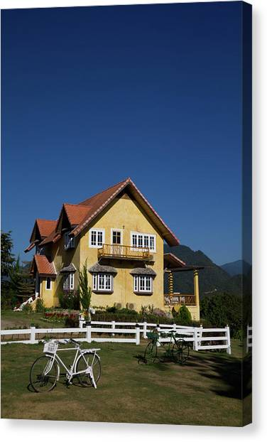 Yellow Classic House On Hill In Thailand  Canvas Print