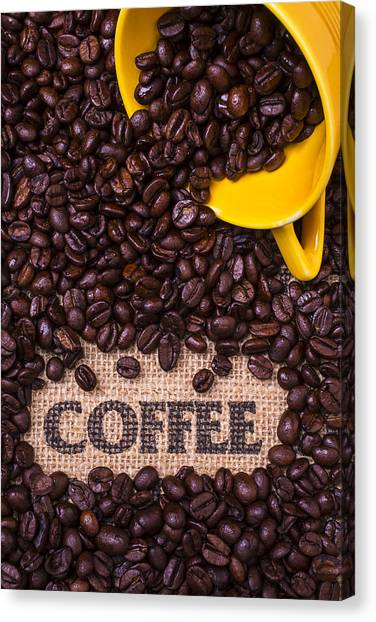 Coffee Beans Canvas Print - Yellow Coffee Cup With Coffee Beans by Garry Gay