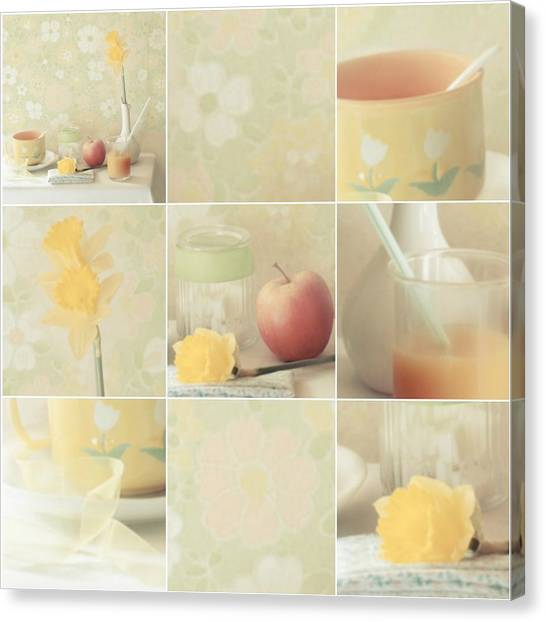 Daffodils Canvas Print - Yellow Collection by Delphine Devos