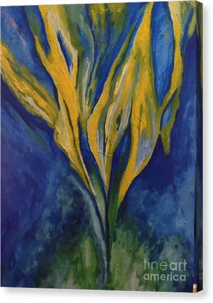 Yellow Crystal Star Canvas Print by Bebe Brookman