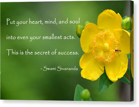 Yellow Flower With Success Quote Canvas Print