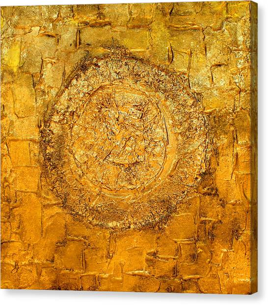 Yellow Gold Mixed Media Triptych Part 1 Canvas Print