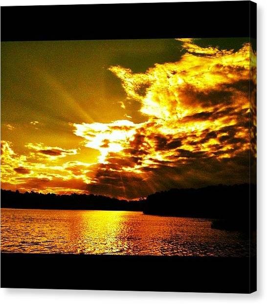 Lake Sunsets Canvas Print - #yellow #golden #sunset #over by Harry Brown