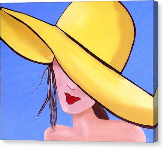 Yellow Hat On Blue Canvas Print