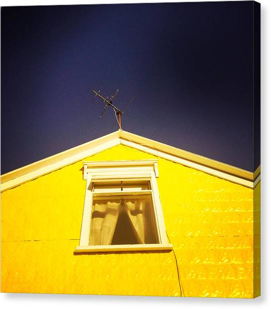House Canvas Print - Yellow House In Akureyri Iceland by Matthias Hauser