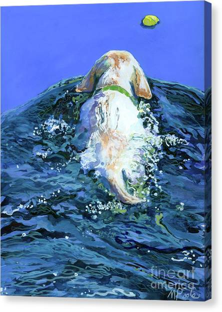 Yellow Lab Canvas Print - Yellow Lab  Blue Wake by Molly Poole