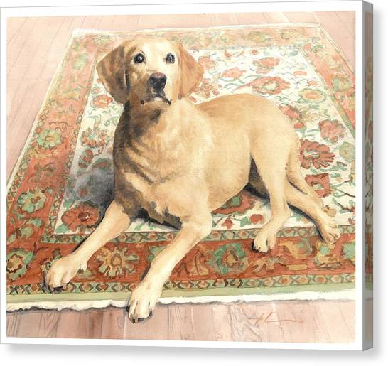 Yellow Lab On A Rug Watercolor Portrait Canvas Print by Mike Theuer