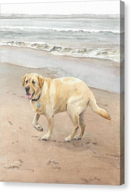 Yellow Lab On Beach Watercolor Portrait Canvas Print by Mike Theuer