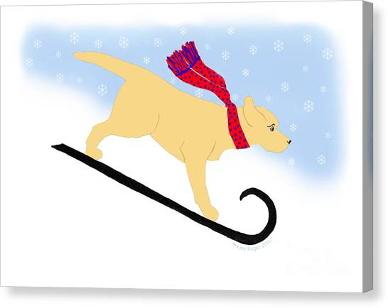 Yellow Labrador Snowboard Dog Canvas Print
