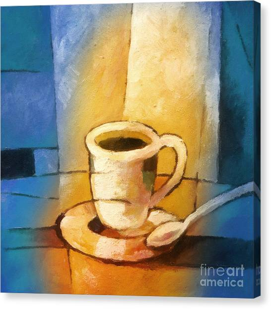 Coffee Canvas Print - Yellow Morning Cup by Lutz Baar