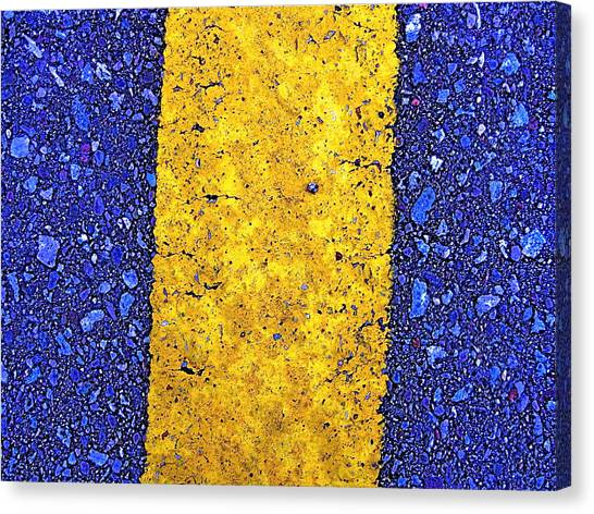 Yellow On Blue Stone Canvas Print