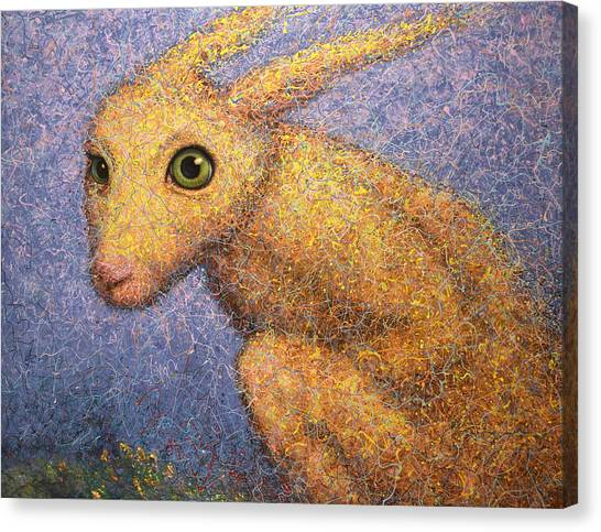 Rabbits Canvas Print - Yellow Rabbit by James W Johnson