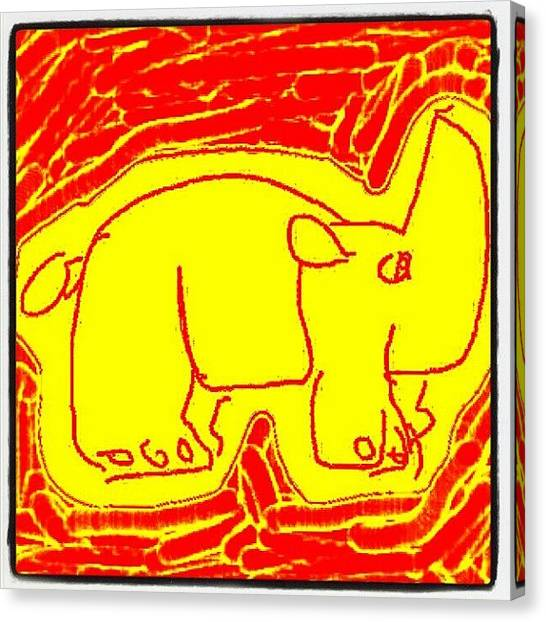 Rhinos Canvas Print - #yellow #rhino #paint #painting by Nuno Marques