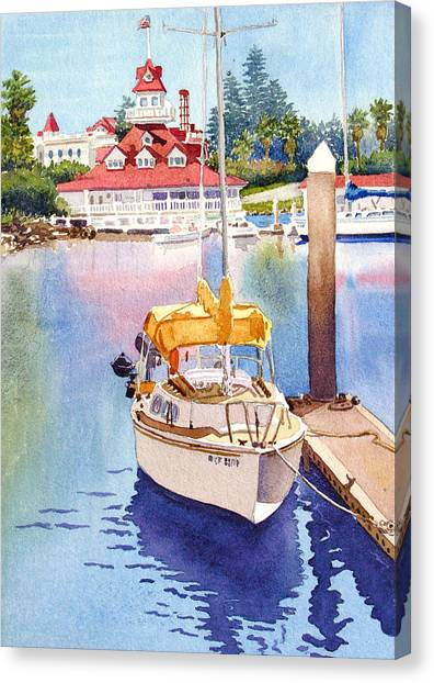 Dock Canvas Print - Yellow Sailboat And Coronado Boathouse by Mary Helmreich